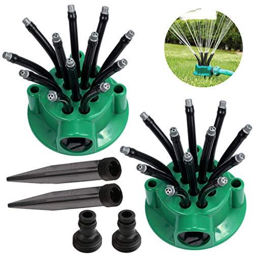 GKanMore Garden Hose Sprinkler Head Lawn Water Sprinkler 360 Degree Adjustable Noodle Head Nozzle Sprinkler for Outdoor Yard Garden Lawn Irrigation Pack of 2 Green
