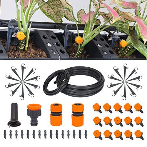 Garden Irrigation System kit 656FT20M DIY Drip Irrigation Kit 14 and 12 Blank Distribution Tubing Watering Drip Kit Water Saving Automatic Irrigation Set for LawnPatioGreenhouse