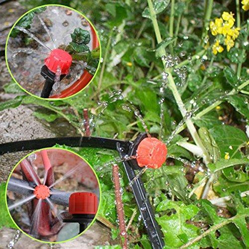 Jocestyle 50 Pcs 14 Inch Hose Garden Adjustable Micro Flow Dripper Drip Irrigation Watering Tool Misting