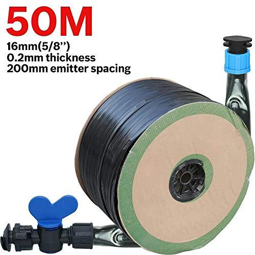 TMYQM 20M-150M 16mm 02mm Thickness Drip Irrigation Tape 58 8mil w 20cm Emitter Dripper Spacing Hose Greenhouse Garden Connector Color  KSL01 KIT090 50M Diameter  58