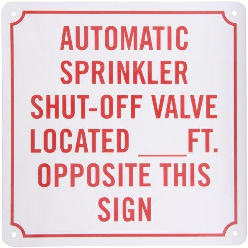 SmartSign Aluminum Sign Legend Automatic Sprinkler Shut-Off Valve 10 square Red on White