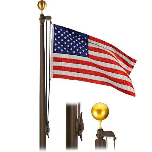 Hurricane External 50 Foot Flagpole 10x4x312 Satin Bronze Flagpole