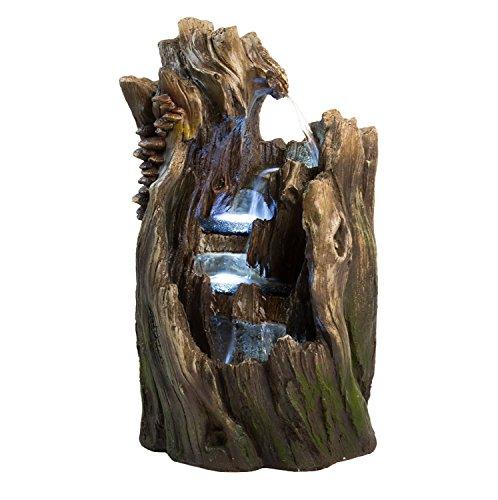 22&quot Walnut Log Indooroutdoor Garden Fountain Tiered Outdoor Water Feature For Gardensamp Patios Original Hand-crafted