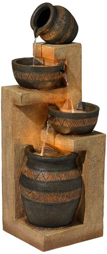 Stoneware Bowl and Jar Indoor-Outdoor Fountain