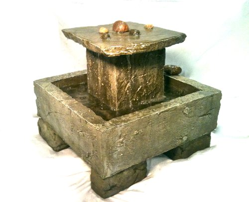 Garden Fountain Cast Stone Tuscan Tier Cascade Rock Concrete Patio Outdoor Rock Garden Water Feature
