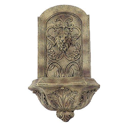 Sunnydaze Decorative Lion Solar Wall Fountain Florentine Stone Finish 25 Inch Tall