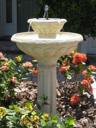 Smart Solar 34251rm1 Antique White Stone Kensington Gardens 2-tier Solar-on-demand Fountain