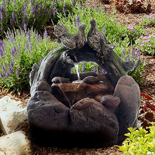 Pure Garden LED Lighted Double Dove Rock Fountain with Pump