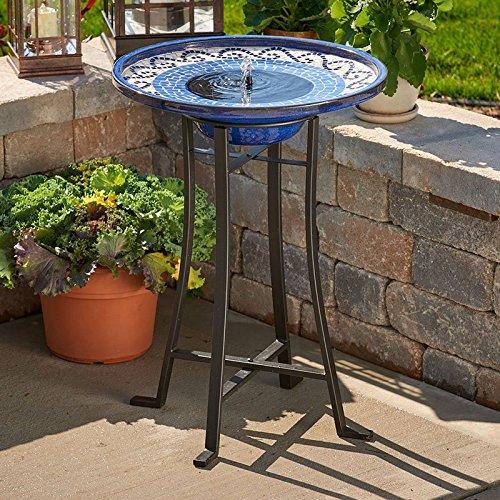 21 Mosaic Ceramic Solar Outdoor Bird Bath Fountain with Metal Stand in- powder black