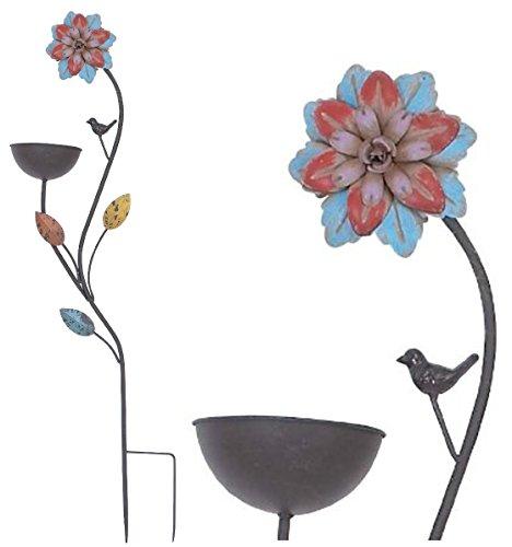 Bird Bath Feeder Bowl Garden Stake Metal Flower Scupture Yard Decor 42-inch