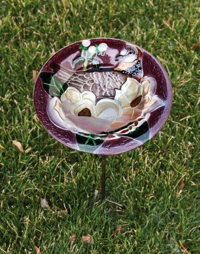 Evergreen GardenGlass and MetalBird Bath with Stake Magnolia Brilliance11x11x26 Inches