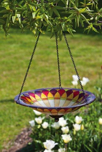 Evergreen Gardenglass And Metal Chainbird Bath Hanging Tiffany115x115x21 Inches