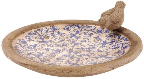 Esschert Design USA Ceramic Birdbath-BlueWhite