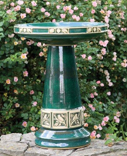Juniper Green High Gloss Glazed Ceramic Bird Bath Set - Made in the USA