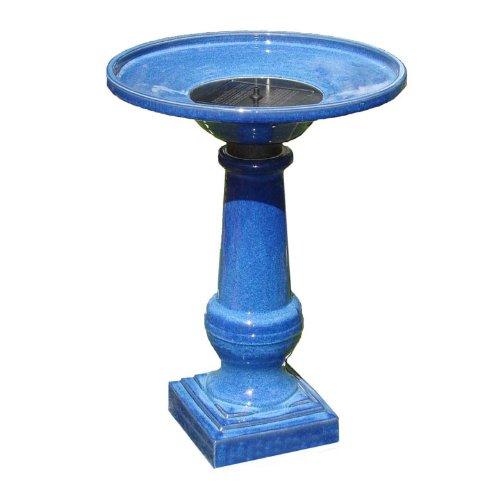 Smart Garden 25372RM1 Athena Glazed Blue Ceramic Birdbath Fountain With Solar on Demand