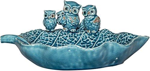 Whimsical Ceramic Bird  Bath Feeder with Owl Design Blue