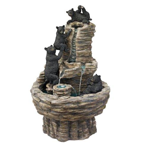 Design Toscano Resin Rocky Mountain Splash Black Bears Garden Fountain