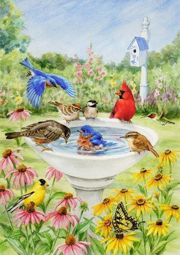 Toland - Birdy Dippin - Decorative Spring Summer Cute Bird Bath Flower Usa-produced House Flag