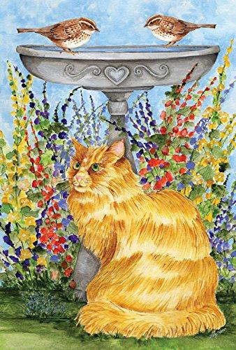 Toland Home Garden  Kitty At The Birdbath 125 X 18-inch Decorative Usa-produced Garden Flag