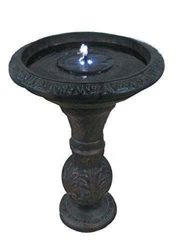 Round Bronze Solar Fountain Solar Birdbath with LED Lights ASF317A