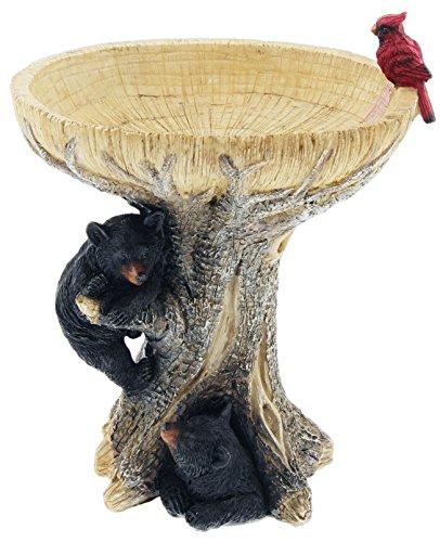 Distinctive Designs Tabletop Birdbath Resin Black Bear Design 105