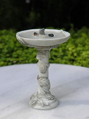 Miniature Dollhouse FAIRY GARDEN Furniture ~ Gray Resin Bird Bath w Bird ~ NEW Fairy Garden Micro Landscape Craft Decor