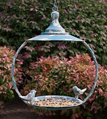 Love Birds Vintage Garden Dome Roof Hanging Bird Feeder - Metal