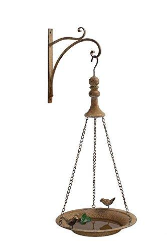Metal Bird Feeder W Hook Wall Mount Light Rust Finish Country Home Garden D