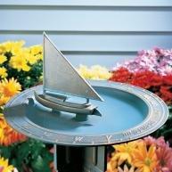 Whitehall Verdigris Sailboat Sundial Birdbath - 00517