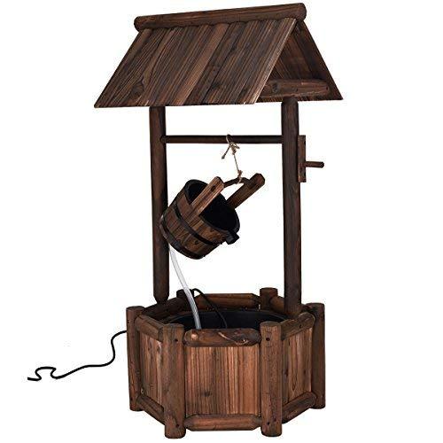 Giantex Wishing Well Water Fountain Rustic Wooden Outdoor Garden Decorative Fountain Backyard wElectric Pump