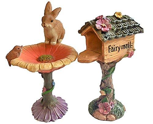 Wonky Hill Miniature Fairy Garden Collection 3 Piece Mail Box Bird Bath And Bunny