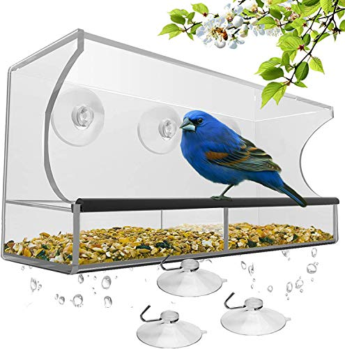 Window Bird Feeder - Large Bird House for Outside Removable Sliding Tray with Drain Holes Best for Wild Birds 100 Clear Acrylic Easy to Clean Great Gift Guaranteed For All Weather Style-A