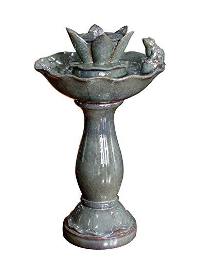 Kelkay F1214107 Ceramic Frog And Lily Pad Bird Bath Fountain