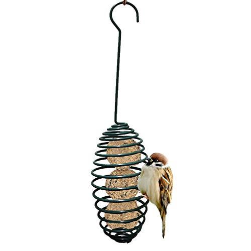 Amasstu Outdoor Bird Feeder Metal Hanging Fat Ball Holder Wild Bird Feeder Automatic Spiral Bird Feeding Tool with Carrying Hook 75 X 75 X 28CM