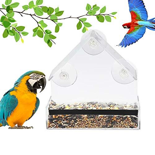 Bird Feeder Newest Window Bird Feeder 100 Wild Bird Transparent Viewing 3 Strong Suction Cups  Seed Tray  Drain Holes Best Outdoor Bird Feeder Kits for Cardinal Wild Birds Chickadees