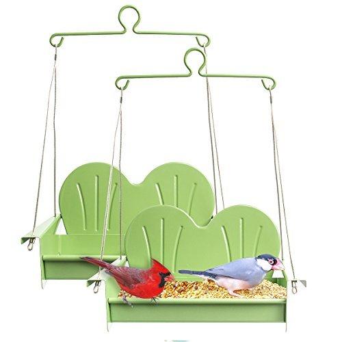 Hiatt 2 Pack Patio Swing Set Hanging Bird Feeder Metal Outdoor Décor Balcony Garden Yard Decoration Patio Set