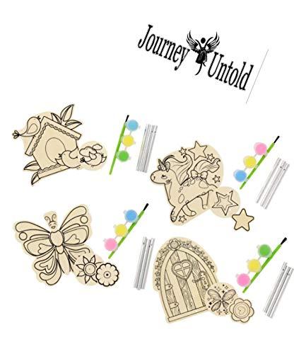 Journey Untold Kids DIY Craft Bird Feeder WOODSHOP Bonus POG Exclusive Bird Art Outdoor Birdfeeders for Wild Birds Finch Cardinal Bluebird Outside Hanging Birdhouse Kits Wind Chimes Set of 3