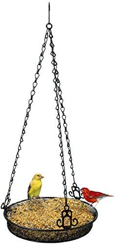 Sorbus Bird Feeder Hanging Tray Seed Tray for Bird Feeders Great for Attracting Birds Outdoors Backyard Garden Black