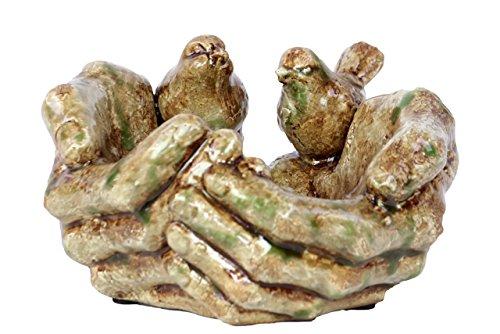 Benzara Hand Themed Ceramic Bird Feeder Green
