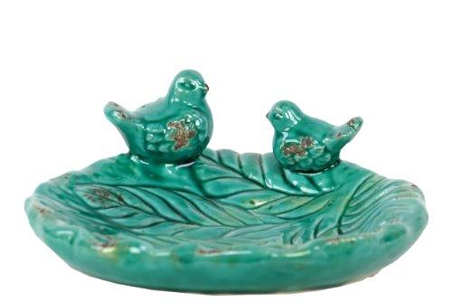 Urban Trends 50796 Decorative Ceramic Bird Feeder Turquoise