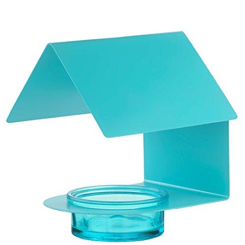 6 Couronne Company Aqua Metal Glass Bird House  Bird Feeder