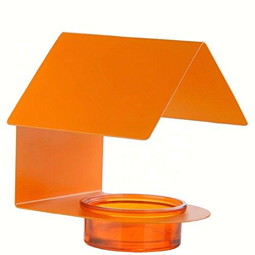 Couronne Company M447-200-O 34 oz Glass and Metal House Bird Feeder 6 tall Orange