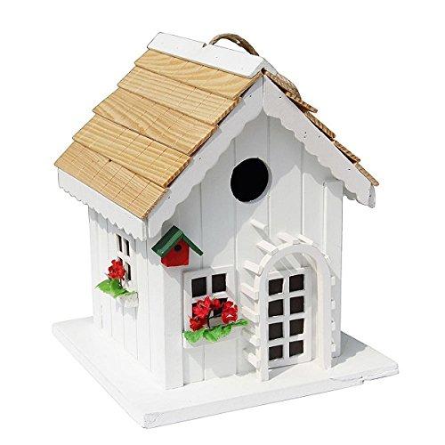 Decorative Wood House Bird Feeder w Red Trim Outdoor Decor for Garden Backyard Tree or Pole Graphic Birdhouse