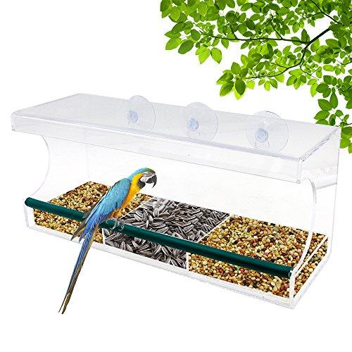 Large Window Bird Feeder Rusee Durable Acrylic Birdhouses - Holds Bird Seedamp Wild Birds - Clear Removable Tray