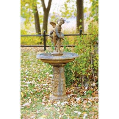 Fiber Stone Cupid Birdbath  Fountain