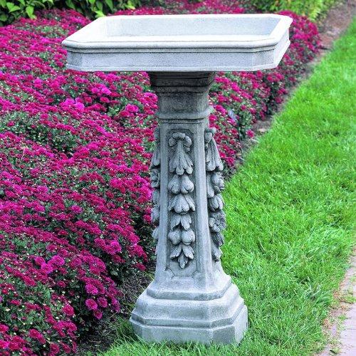 Longwood Floral Pedestal Birdbath Finish Greystone
