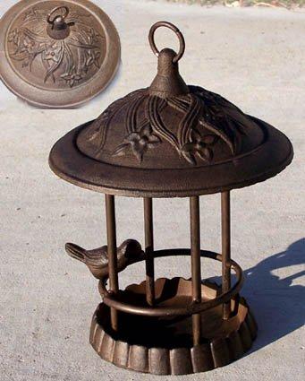 70740 Cast Iron Gazebo Bird Feeder Bath Antique Finish