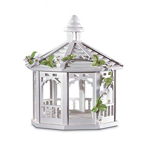 Bird House garden outdoor White Gazebo Birdfeeder
