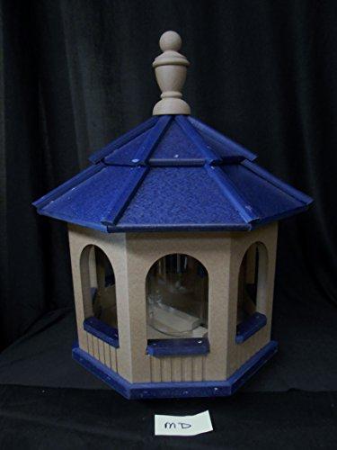 Medium Vinyl Gazebo Bird Feeder Amish Homemade Handmade Handcrafted Clay and Blue