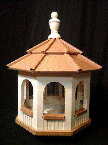 Vinyl Gazebo Bird Feeder Amish Homemade Handmade Handcrafted Ivory Cedar med